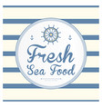 seafood on a striped background vector image