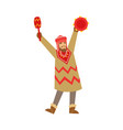 shaman character in national clothes dancing with vector image
