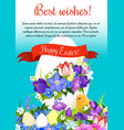 happy easter paschal egg greeting poster vector image