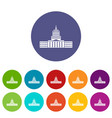 capitol set icons vector image