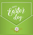 happy easter lettering on a green vector image
