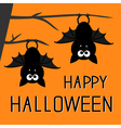 Two bats hanging on the tree Happy Halloween vector image