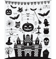 Black Sketched Doodle Halloween Icons vector image