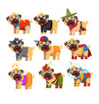 cute funny pug dog character in colorful funny vector image