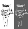 cute pig holding ice glass and cake with welcome vector image