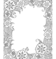 Floral hand drawn vertical frame in zentangle vector image