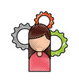 girl character gear business work image vector image