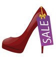 red high-heel shoe with discount tag sale label vector image