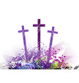 Three cross on the color hill vector image