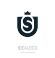 US initial logo with crown US initial monogram vector image