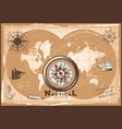 vintage nautical world map template vector image
