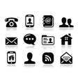 Contact black icons set - mobile user smartphone Vector Image