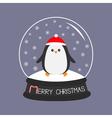 Penguin in red santa hat Cute cartoon character vector image