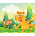 A tiger beside a signboard vector image vector image