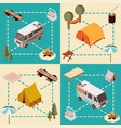 camp isometric compositions vector image vector image