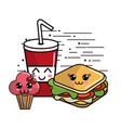 kawaii fast food icon adorable expression vector image