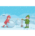children making snowman in the morning vector image