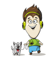 Boy in headphones with a dog vector image vector image