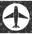 grunge gray circle icon - airplane vector image