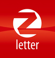 Round logo letter Z on a red background vector image