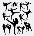 Muay Thai martial art kick boxing silhouette vector image