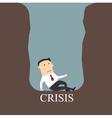 Bankrupt businessman sitting in a crisis pit vector image