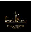 Gold silhouette of Kuala Lumpur on black vector image
