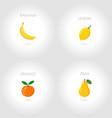 banana lemon orange pear set vector image