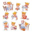 cartoon kid daily routine activities set vector image