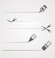 Dividers of scissors pen and crayon vector image