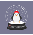 Penguin in red santa hat Cute cartoon character vector image