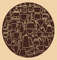 Coffee silhouette Pots with Cups vector image