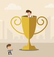Businessman inside winner trophy has a greeting vector image