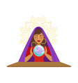 fortune teller watching crystal ball occult vector image