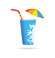 glass of juice with a straw vector image
