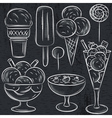 set of different ice cream on blackboard vector image