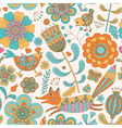 Foral seamless pattern with fox hen chicken vector image