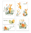 Easter bunnies and eggs vector image vector image