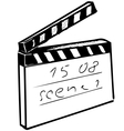 Clapperboard on white background vector image