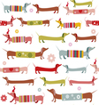 Cute winter pattern with dogs vector image