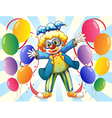 A male clown and the twelve balloons vector image vector image