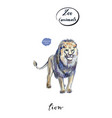 Portrait of big mighty lion staying in watercolor vector image