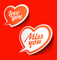 Love you and Miss you heart shaped bubbles vector image vector image