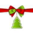 Bow Ribbon with Christmas Tree Label vector image vector image