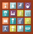 design furniture icons set interior- vector image