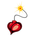 Heart bomb in cartoon style vector image