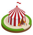 isometric circus tent and children vector image
