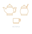 Line flat kitchenware icons - teapot sugar vector image