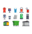 set of garbage cans for home and street vector image