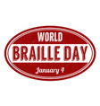 world braille day grunge rubber stamp vector image